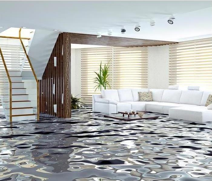 Living Room flooded with water